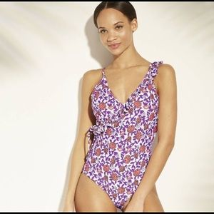 0a5314f820 Ruffle Trim Wrap Swimsuit-Sea Angel White Floral